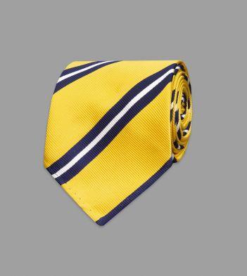 Navy and Yellow Sandwich Stripe Repp Silk Tie