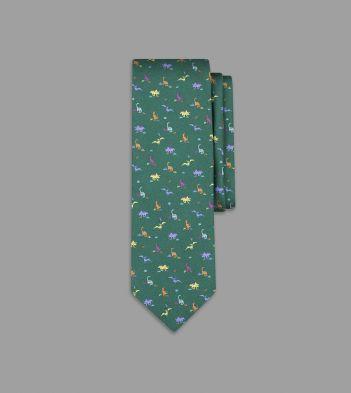 Green Dinosaur Print Silk Tie