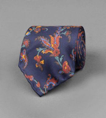 Navy Baroque Floral Print Silk Tie