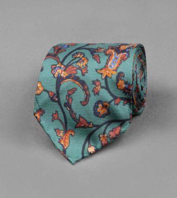 Green Baroque Floral Print Silk Tie