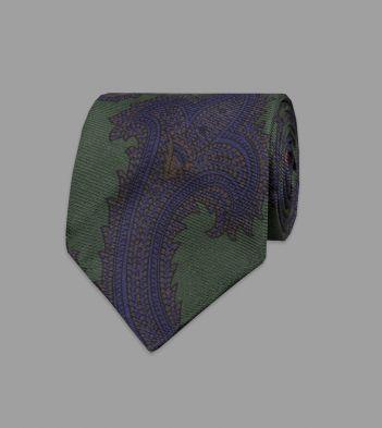 Green Rococo Paisley 40oz Ancient Madder Silk Tie