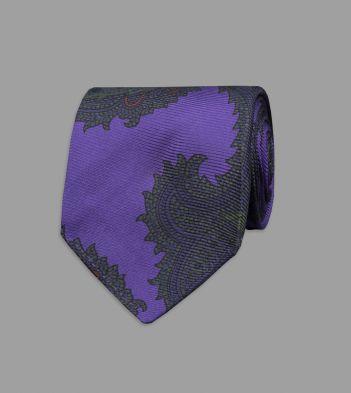 Purple Rococo Paisley 40oz Ancient Madder Silk Tie