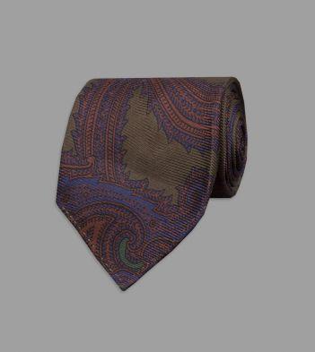 Khaki Rococo Paisley 40oz Ancient Madder Silk Tie