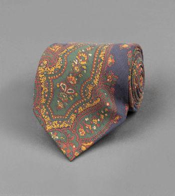 Navy Classic Paisley Print Silk Tie