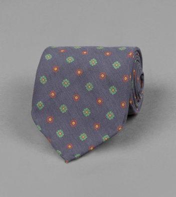 Navy Miniature Multi-Floral Motif Silk Tie