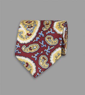 Dark Red Angular Paisley Print Silk Tipped Tie