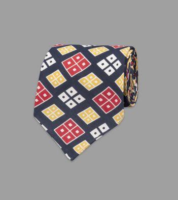 Navy Rhombus Print Shappe Silk Tie