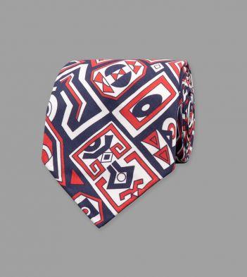 Navy Geometric Aztec Print Shappe Silk Tie