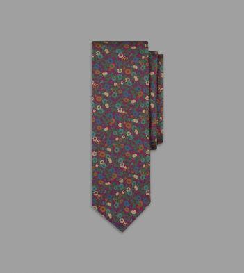 Pink Wildflower Print Saglia Silk Twill Tie
