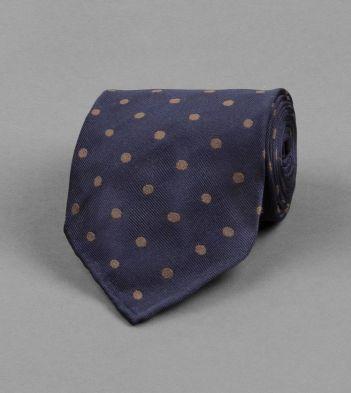 Navy and Brown Spot Silk Tie