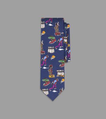 Navy Bowling Print Silk Tie