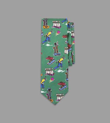 Green Bowling Print Silk Tie