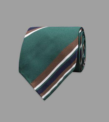 Green, Brown and Navy Multi-Stripe Repp Silk Tie