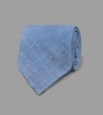 Cornflower Handrolled Silk Tussah Tie