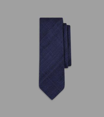 Navy Handrolled Silk Tussah Tie