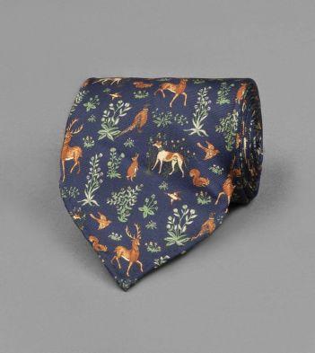 Navy Woodland Print Silk Tie