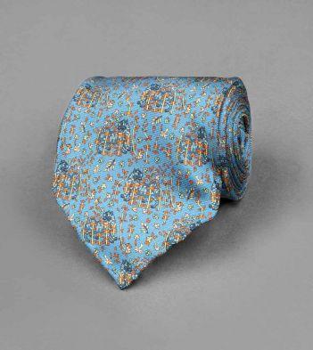 Petrol Blue Archival Tiger Print Silk Tie