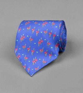 Blue Ostrich Print Silk Tie