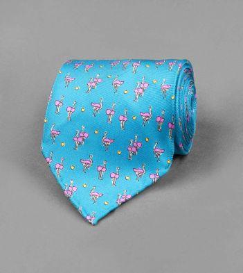 Turquoise Ostrich Print Silk Tie