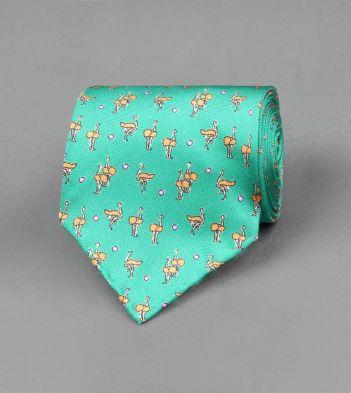 Green Ostrich Print Silk Tie