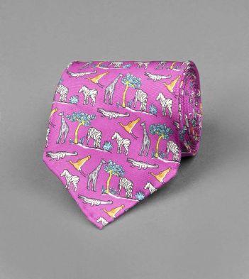 Pink Safari Print Silk Tie