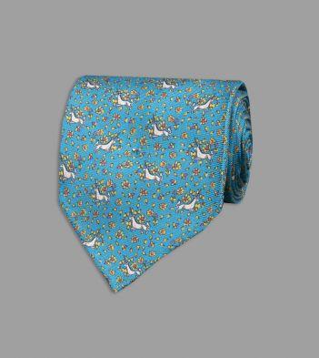 Turquoise Mini Unicorn Print Silk Tie