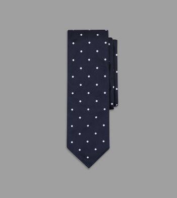 Navy Woven Spot Repp Tie