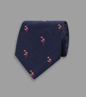 Navy Parrot Motif Silk Tipped Tie