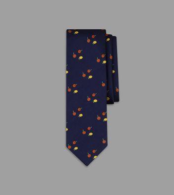 Navy Citrus Motif Silk Tie