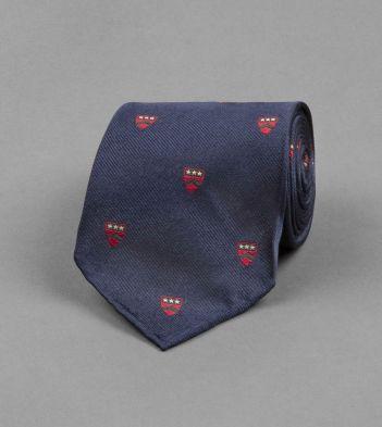 Navy Shield Emblem Motif Silk Tie