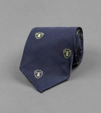 Navy 1977 Shield Motif Silk Tie