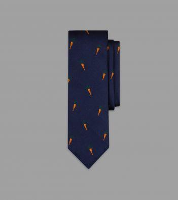 Navy Carrot Motif Silk Tie