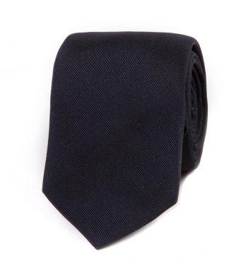 Navy Woven Repp Silk Tie