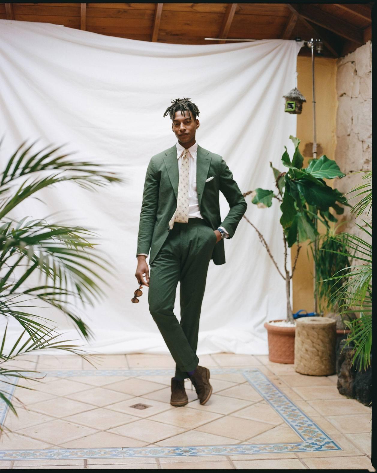 The Olive Cotton Seersucker Suit Drake S